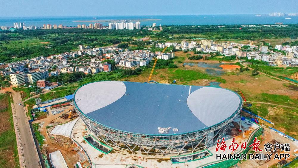 海口五源河文体中心二期项目完成顶部施工 预计今年年底交付使用